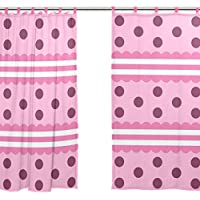 jstel 2pezzi tenda in voile, colore rosa ragazze come Polk Dot, Tulle Sheer Curtain Drape (Dots Ragazzi Tie)