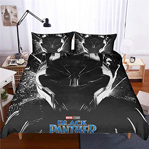 YYOUNG Bettwäsche-Set 3D Marvel Black Panther 3-teiliges Set Bettwäsche 100% Mikrofaser Für Geschenke (1 Bettbezug + 2 Kissenbezüge) G-Queen(228cm*228cm)