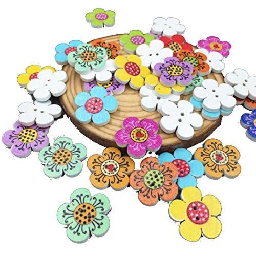 Winkey Menschen und Life gemischt Farbe Holz Blumen Nähen Knöpfe Scrapbooking Dekorationen 2-fach 20mm
