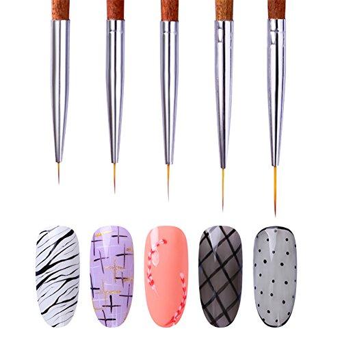 NICOLE DIARY 5 Stück Liner Zeichnung Pinsel UV Gel Malerei Acryl Pen Redwood-Maniküre-Nagel-Kunst-Werkzeug-Handgriff Nagel Maniküre Pinsel