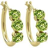 1.80 Ct Round Green Peridot 10K Yellow Gold Hoop Earrings