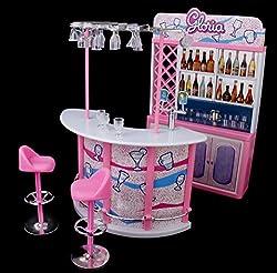 Magideal Plastic Gloria Dollhouse Furniture Bar Play Set For Barbie