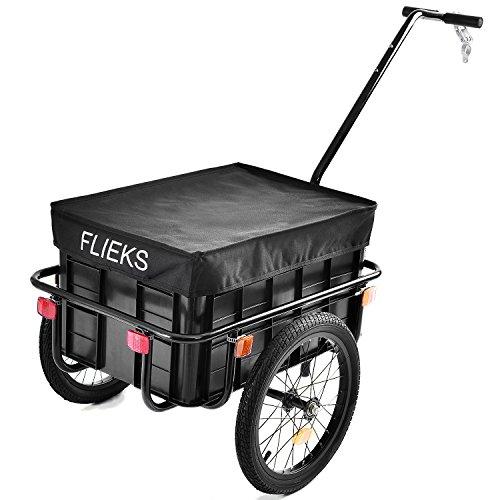 Flieks Fahrradanhänger Transportanhänger Lastenanhänger mit Abdeckung Schwarz