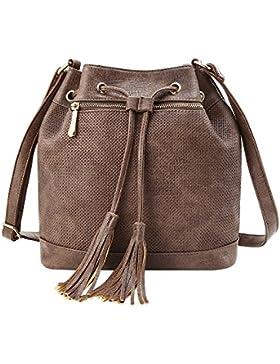 YsinoBear Frauen Tote Schulter Handtasche Retro Mode Drawstring Eimer Tasche Große Schultertasche Leder Hobobag...