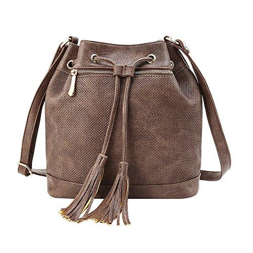 YsinoBear Frauen Tote Schulter Handtasche Retro Mode Drawstring Eimer Tasche Große Schultertasche Leder Hobobag mit Fransen Bommeln Beuteltasche Ledertasche (Große Drawstring Handtasche)