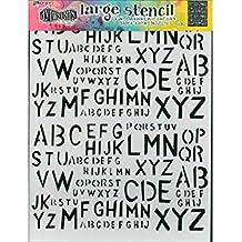 Plantilla Ranger Dylusions, diseño de alfabeto de vieja escuela, transparente, grande