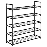 SONGMICS 5-Tier Shoe Rack, Metal Storage Shelves Hold up to 25 Pairs of Shoes, for Living Room, Entryway, Hallway and Cloakroom, 91.5 x 28.5 x 96 cm
