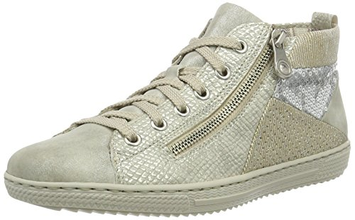 Rieker L9446 Damen Hohe Sneakers Grau (grey/ice/lightgold/ice / 40)