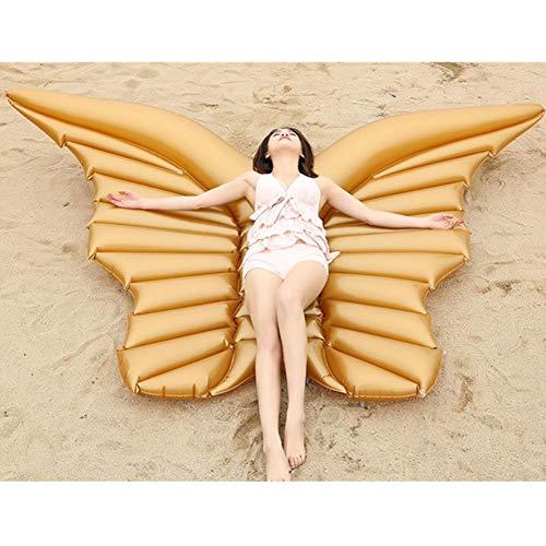Aufblasbare Pool-Float, Angel Wings Aufblasbare Schwimmfloß PVC-Pool-Liege FüR Sommer-Pool-Party, Schmetterlingsform Blow Up Strand Spielzeug FüR Kinder Und Erwachsene,Gold (Foto-blow Up)