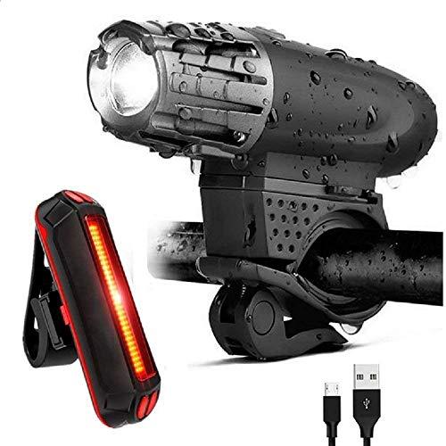 JAUTO Fahrradlichter Fahrradlicht USB Aufladbar Fahrradlampe LED Set Frontlicht & Rücklichter IPX4 Wasserdicht 4 Licht-Modi 2 USB-Kabel Fahrrad Licht für eleuchtung für Fahrrad, Mountainbike, eBike, Rennrad,Radfahren,Wandern,Laufen,Walking,Camping