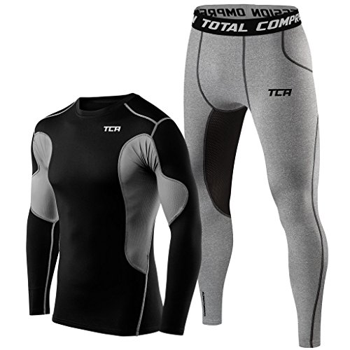 TCA Men & Boys Superthermal Compression Thermal Base Layer Running Top & Tights - Black/Grey Top with Dark Carbon Tights, S