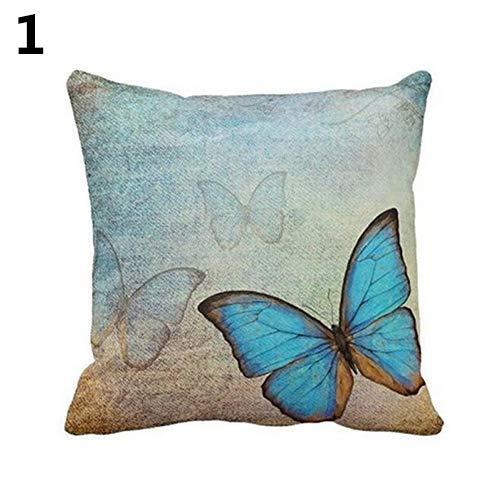 pengyu Fashion Leinen-Kissenbezug Hund Schmetterling Blumen Pfauenfedern Kissenbezug Sofa Bett Home Decor Kissenbezug 45,7 x 45,7 cm, blau, Einheitsgröße -