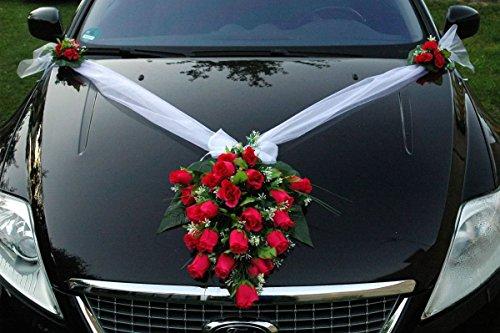 SPITZE STRAUß Auto Schmuck Braut Paar Rose Deko Dekoration Autoschmuck Hochzeit Car Auto Wedding Deko PKW (Pink)