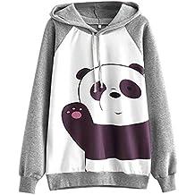 Longra Lindo Panda Impreso, Sudaderas con Capucha Mujer Tumblr Mangas largas Gris Moda Suéter Casual
