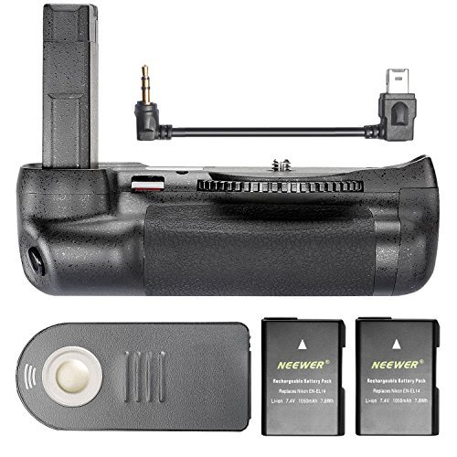 Neewer Professionell Infrarot Fernbedienung Batteriegriff für Nikon D5500 DSLR Kamera mit 2er Pack 7,4V 1050mAh Nikon EN-EL14 Ersatz Wiederaufladbarer Li-Ionen-Akku (Schwarz)