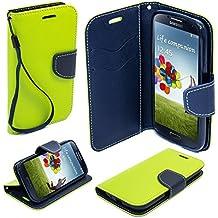 BOOK CASE FANCY für Alcatel Pixi 4 4.0 4034D Cover Handy Tasche Flipcase Etui Buchform Kunststoff TPU Halterung für Kreditkarten (grün)
