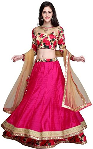 AkshsrFashion Women\'s Pink Raw Silk Designer Semi-Stitched Lehenga Choli(Lehenga_256)
