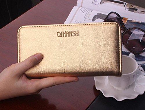 SHISHANG Große Kapazität Karten Zip um Geldbörse Damen Geldbeutel Portemonnaie weiche Geldbörse multicolor , gold