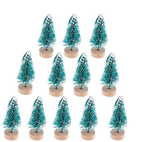 Nowbetter 12 Stück Mini-Weihnachtsbäume, künstliche Sisal-Schnee Frost Bäume mit Holz-Flaschenbürste, Ornamente für Zuhause, Tisch, Mikro-Landschaft, DIY-Dekoration, 4,5 cm