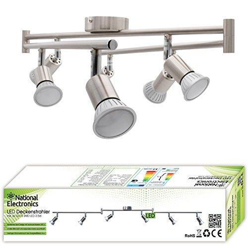 Lámpara de techo LED National Electronics Spot GU10 inclusive 3.5W 320lm LED Bombillas 6 Flama (21 Watts)