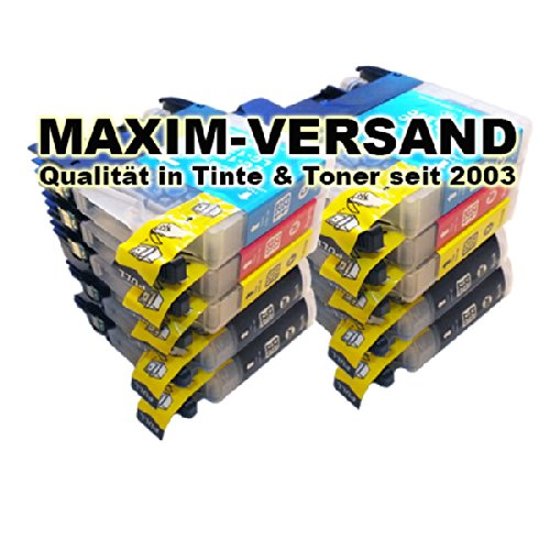 10x MAXIMPRINT XXL Tinten-Patronen SET für Brother LC-121 & LC-123 Cyan Yellow Magenta Black mit Chips (V3) der neuesten Generation - Version 3 für alle Firmware Versionen geeignet & Kompatible Ersatz Drucker-Patronen mit Tintenfüllstandsanzeige -