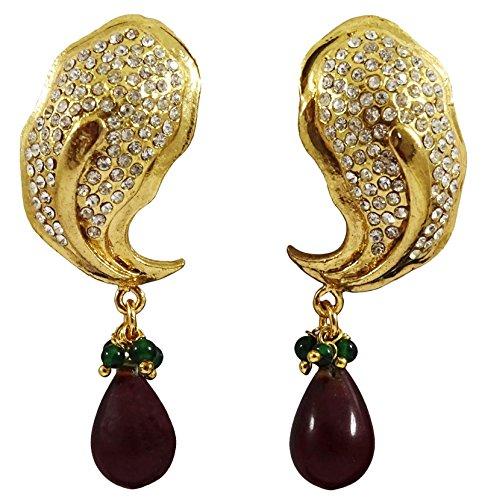 Matra Goldton CZ Stein Ethnische Tropfen Baumeln Ohrringe Set indische Trachten (Ohrringe Cz Schmuck Trachten)