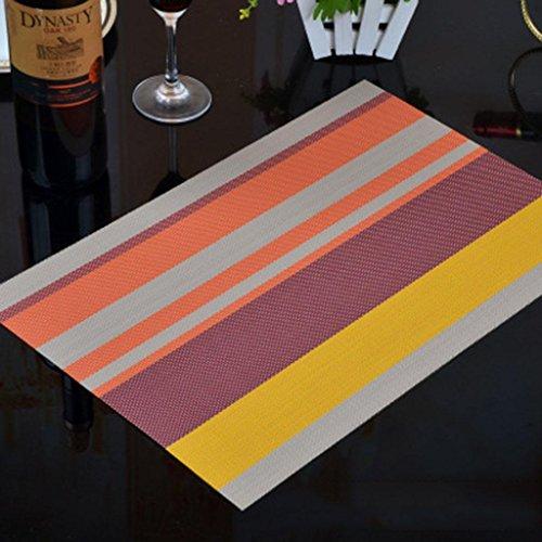 Glas-top-esstisch (Rutschfestes Wasserfestes ÖL-Tischset Isolierte Tischmatte Rechteck Streifen Mehrere Farben Untersetzer Isolierung PVC Esstisch Tischset Protector Dining Dekoration (Ein Satz Von 4) 45 * 30 Cm , d)