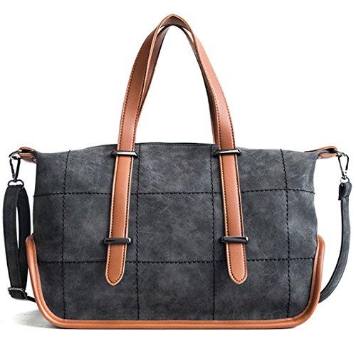 Große Schultertasche für Frauen-Einkaufstasche Vintage Scrub PU-Leder-weibliche Handtasche Größere Top-Griff-Taschen Reise-Kuriertasche Black W37xD28xH14cm