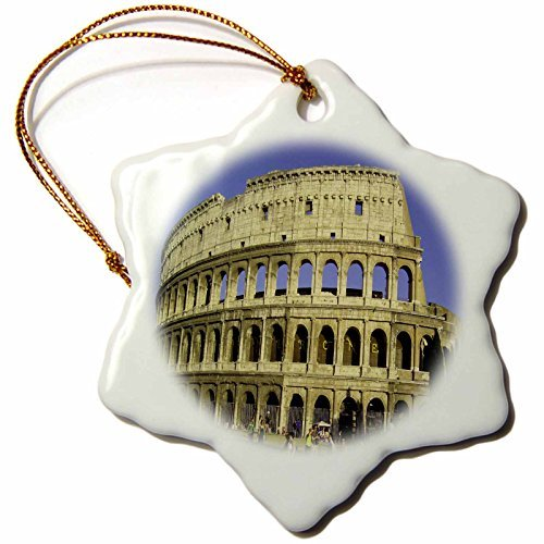 Delia Lucius Italien Kolosseum Blue Sky Schneeflocke Deko Zum Aufhängen Ornament, Porzellan, 3Zoll
