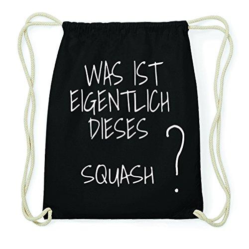 JOllify Squash Hipster Turnbeutel Tasche Rucksack aus Baumwolle - Farbe: schwarz – Design: was ist eigentlich - Farbe: schwarz