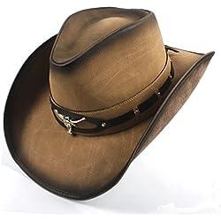 GR 2018 Sombrero de Vaquero de Cuero para Hombres Sombrero de Jazz Occidental con Cabeza de Toro