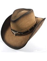 GR 2018 Sombrero de Vaquero de Cuero para Hombres Sombrero de Jazz Occidental con Cabeza de