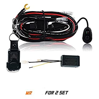 AFTERPARTZ D4 fernbedienter Schalter Kabelbaum für LED Arbeitsscheinwerfer (2 Stück Lampen), R2 3,5M, F2 Fernbedienung