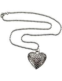 Women Fashion Jewellery  Antiques Silver Dot Heart Shape Pendant With Chain