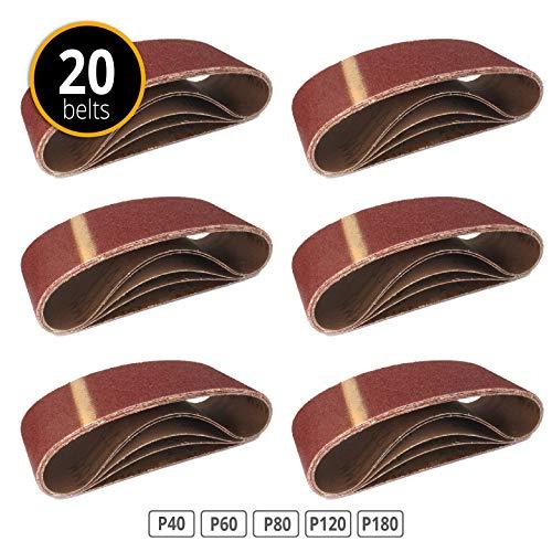 Lot de 20 bandes abrasives 75 x 533 mm grain 4 x 40/60/80/120/180 pour Ponceuse à bande