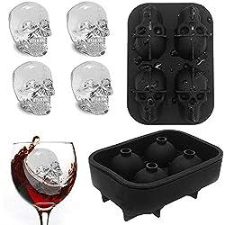 Enjoygoeu_ES 3D Cubito de Hielo Calavera Molde de Cubo Cráneo Bandeja con Tapa Silicona Alimentario para Whisky Hielo y Cócteles