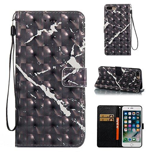 iPhone 7 Plus Hülle, iPhone 8 Plus Hülle, Valenth 3D Marmor Brieftasche Hülle Cover mit Standplatz Feature, Kreditkarte Slots für iPhone 8 Plus / iPhone 7 Plus 1#