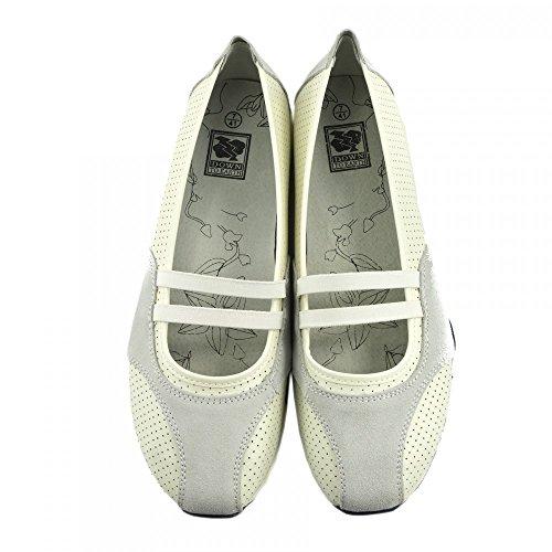 Kick Footwear - Donna Ballerina Del Balletto Di Dolly Pompe Ladies Nero Piatto Mocassini Scarpe Nuove Bianco-F3121