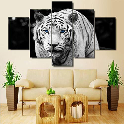 Zum Aufhängen bereit - 5 Verkleidungs -White Tiger Blau Leinwand -Wand -Kunst -Malerei HD Printed Wand -Kunst -Deko Bilderrahmen Poster - Bild auf Leinwand fünfteilig (White Wandtattoo Tiger)