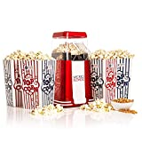 WICKED GIZMOS Red Electric 1200W Retro Popcorn Maker - Make Delicious Healthy Fat