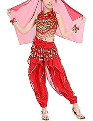 Hougood Enfants Filles Danse du ventre Vêtements Danse Indienne Tenue Vêtements de danse Costume de carnaval d'Halloween /Ensemble 5pcs/ Top+Un pantalon+Chaîne de taille+Couvre-chefs+Bracelet