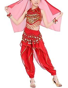 Brightup Niñas de baile del vientre 5 Piezas, Lentejuelas Halter tops, Pantalones largos, Cadena de la cintura...