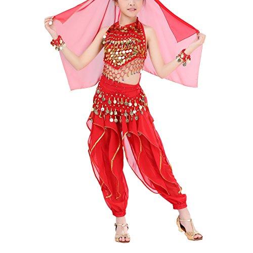 Loveble Mädchen Bauchtanz Kostüm 5 Stücke Professionelle Indische Tanz Leistung Kostüm Set (Taille Elastischer Der Pailletten-gürtel In)