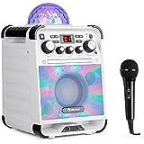 auna Rockstar • Karaoke • Equipo de Sonido pequeño • Equipo de Karaoke • Bola de Luces LED • AVC • Efecto Eco • Bluetooth • Peso Total: 3,1 Kg • CD, CD-R y CD-RW • Robusto • Blanco