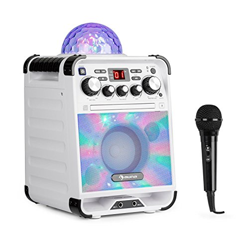 auna Rockstar • Karaoke-Anlage • Mini-Sound-System • Karaoke-System • LED-Jellyball • AVC-Funktion • Echo-Effekt • Bluetooth • CD, CD-R und CD-RW • robust • weiß (Led 37 Tv)