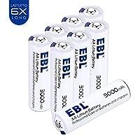 EBL 8 Pack 1.5V AA Lithium Batteries, 3000mAh Last 6 times Longer, Primary AA Battery