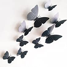 12 Pieces 3D Butterfly Stickrs Fashion Design DIY Wall Decoration House Decoration Babyroom Decoration-BLACK by ZooYoo