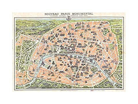 MAP ANTIQUE GARNIER PARIS TOURIST CITY PLAN FRAMED PRINT F12X3474