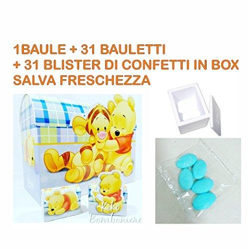 Bomboniere disney nascita battesimo maschio o femmina a seconda della scelta selezionata (winnie the pooh kit che comprende 1 baule - 31 bauletti misti - 31 blister confetti azzurri …)