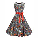 VEMOW Elegante Damen Vintage Bodycon Sleeveless Halter beiläufige Tägliche Abend Party Prom Bow Brautjungfern Swing Dress Faltenrock A-Linie Rock(X3-Rot 2, EU-44/CN-XL)
